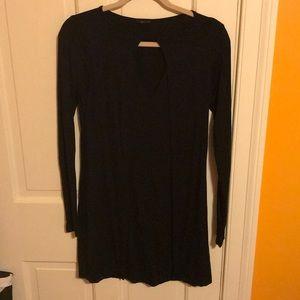 LAMADE- Black front cutout long sleeve dress - M